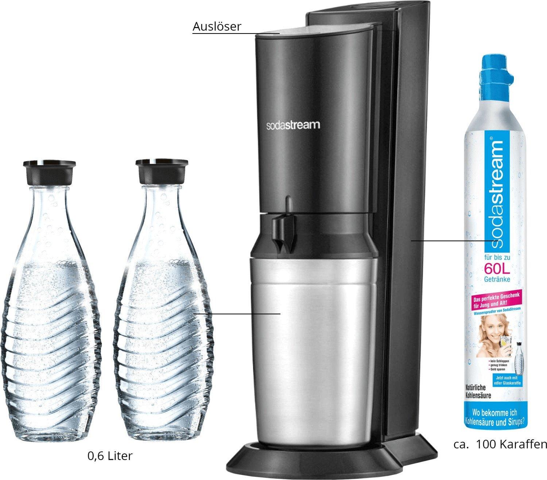 (Mediamarkt) SodaStream Crystal 2.0 titan mit insgesamt 3 Glaskaraffen & Zylinder