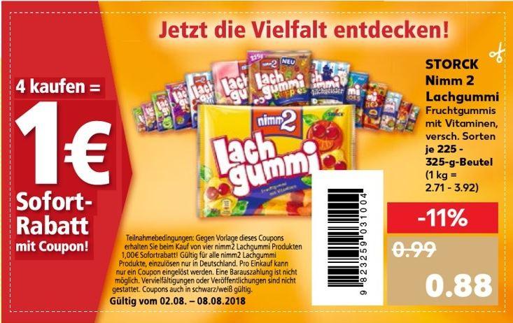 [Kaufland] 4 Packungen Nimm 2 Lachgummi (0,63€/Packung) - Ab 02.08.