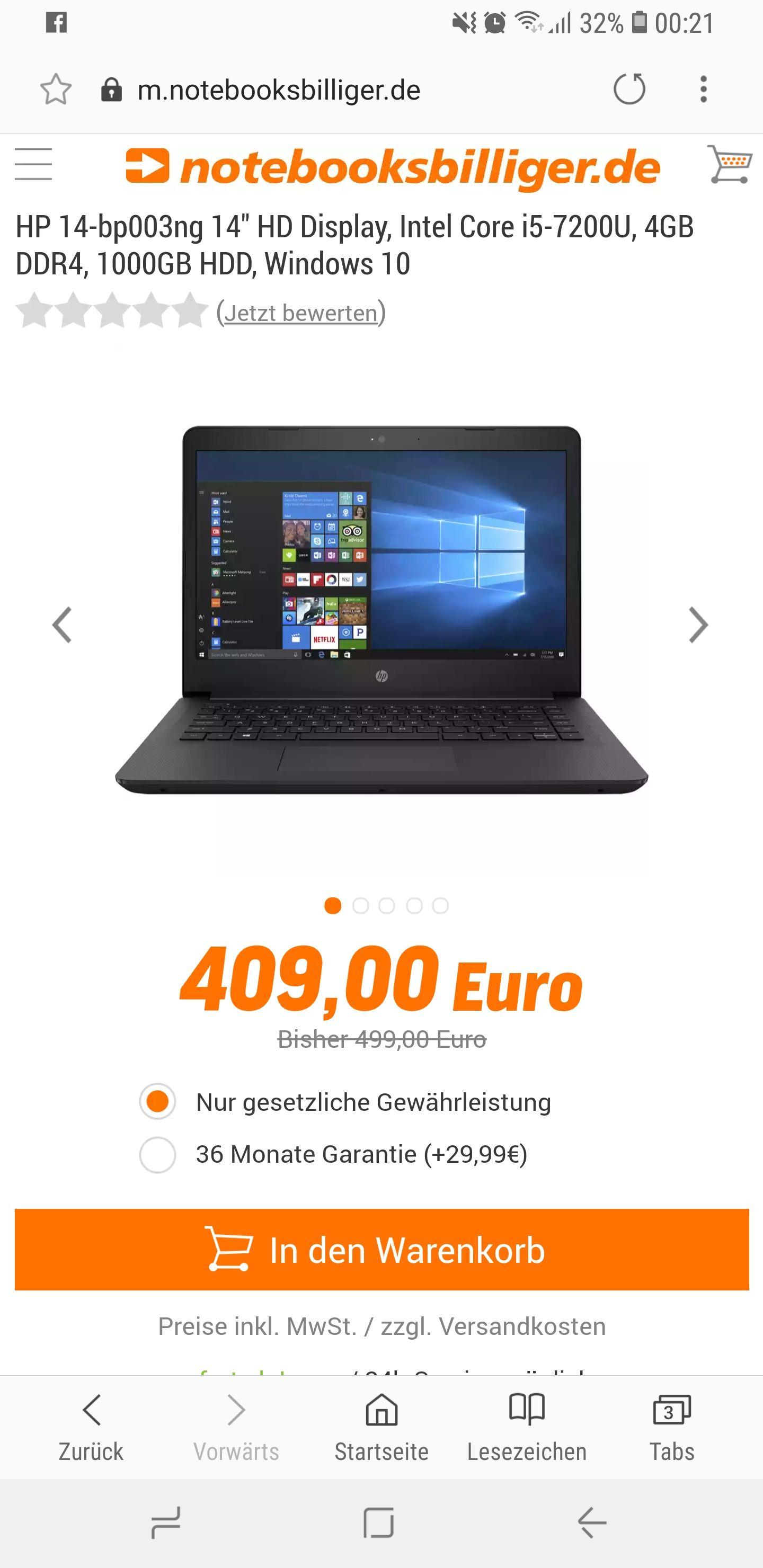 [Notebooksbilliger] HP 14-bp003ng HD Display/Intel Core i5 7200 / 4GB Ram /HD Graphics 620 / Windows 10 für 409 € + Versand /-20% Rabatt Code: SUPERDEALS