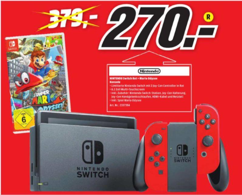 [Regional Mediamarkt Lahr] Nintendo Switch schwarz + Joy-Con rot + Super Mario Odyssey für 270,-€