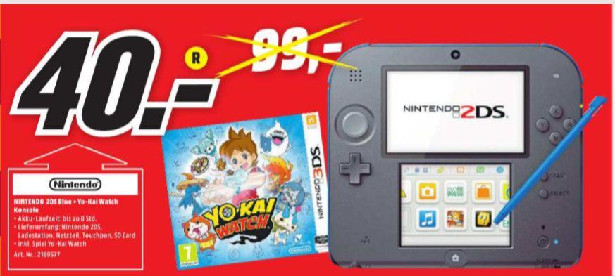 [Regional Mediamarkt Lahr] Nintendo 2DS schwarz-blau + Yo-Kai Watch für 40,-€
