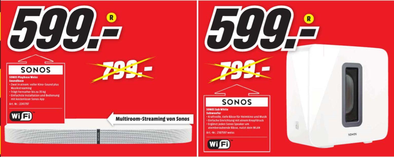 [Regional Mediamarkt Lahr] Sonos SUB weiß oder Sonos Playbase Weiß für je 599,-€