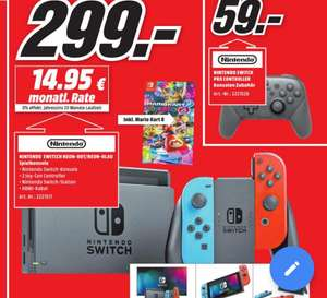 [Lokal - Media Markt Homburg-Saar, Kaiserslautern, Pirmasens] Nintendo Switch inkl. Mario Kart