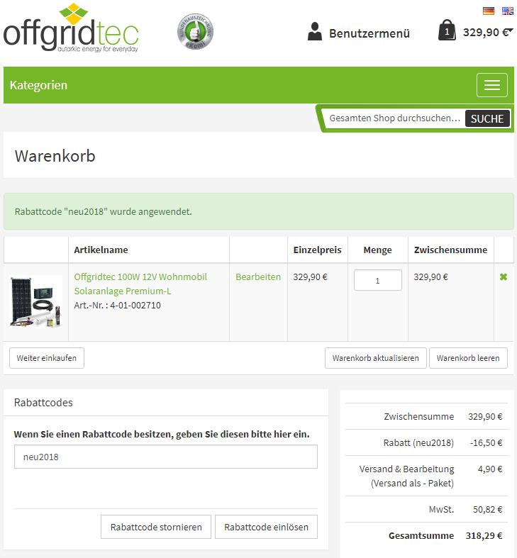 5% Rabatt auf alles bei Offgridtec (Photovoltaik, mobile Energie, etc.)