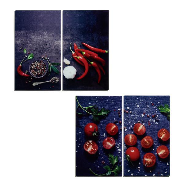 Herd-Abdeckplatten,  2 Stück, je 30 x 52 cm, Chili- oder Tomatenmotiv
