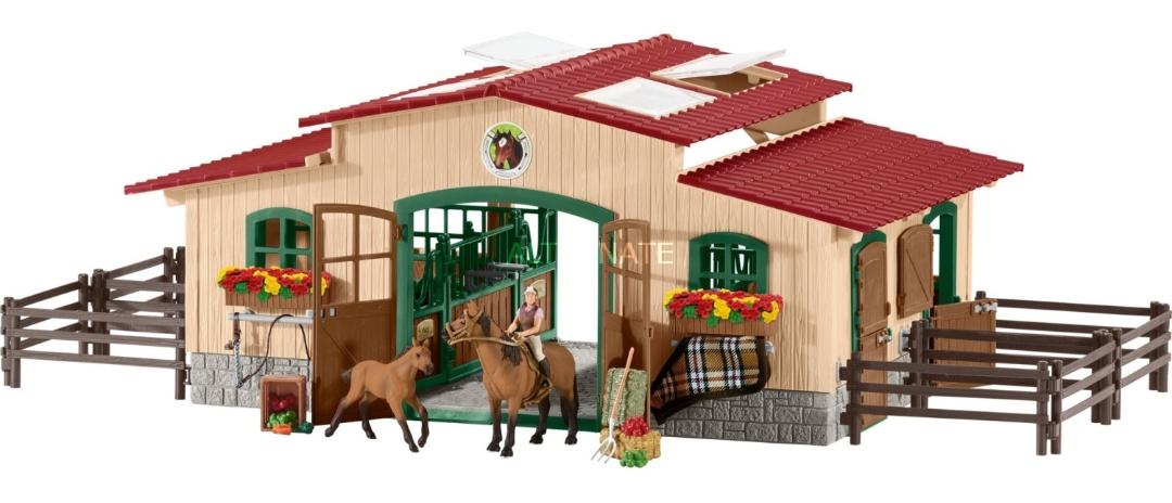 SCHLEICH Pferdestall mit Pferden und Zubehör Farm World 42195