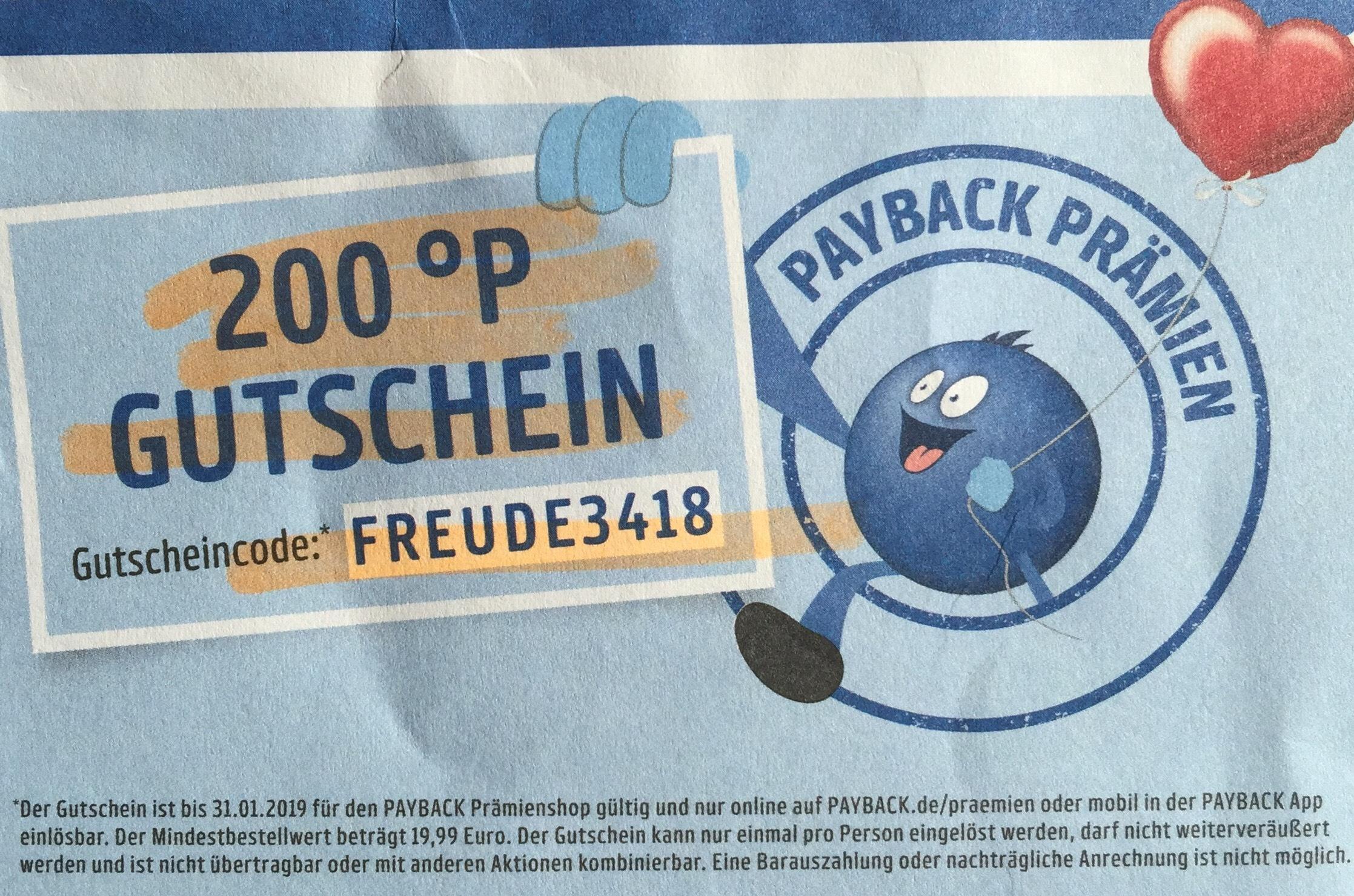 200 Punkte PAYBACK Prämienshop Gutschein