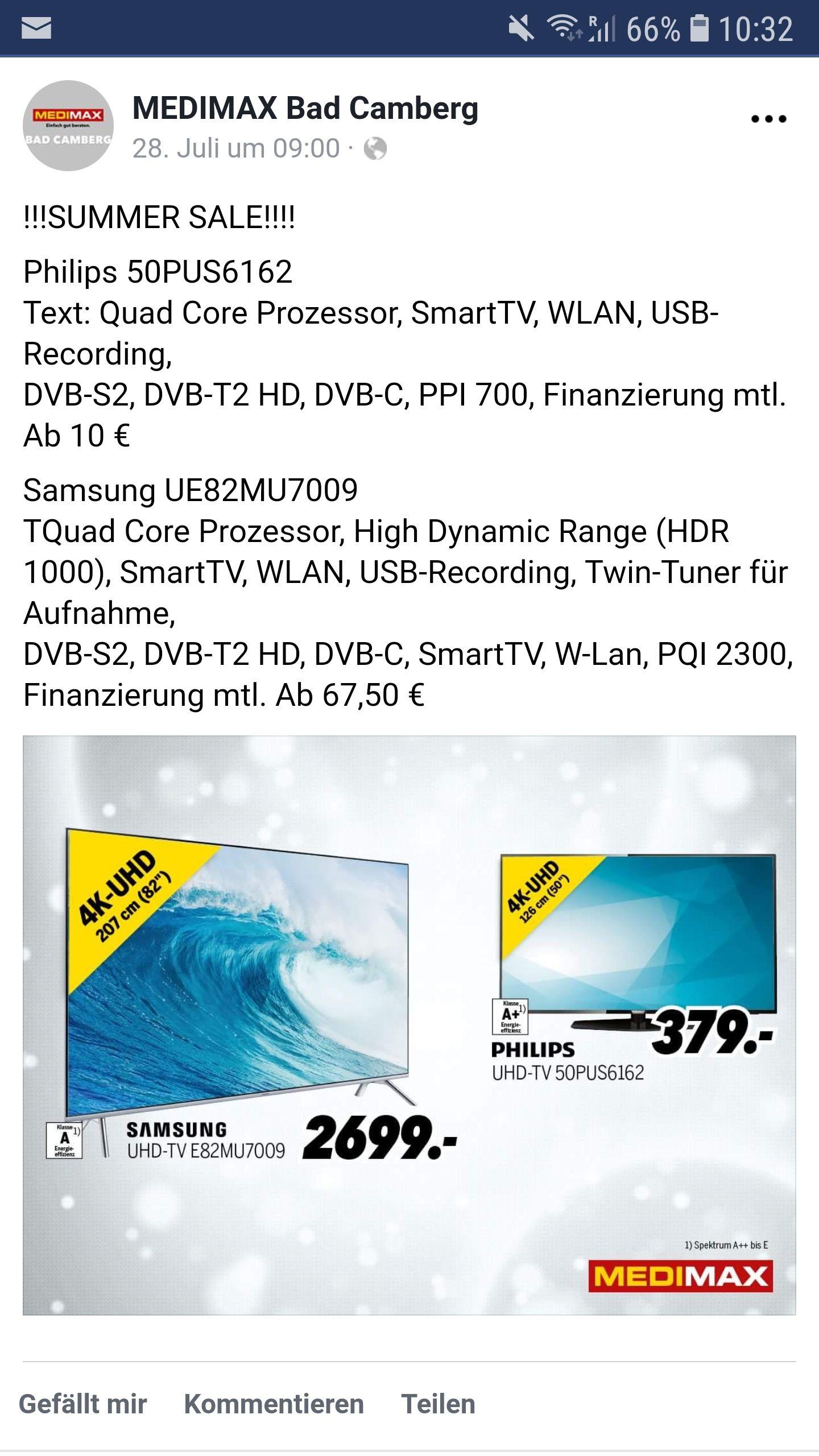 [Lokal] Samsung UE82MU7009 Medi Max Bad Camberg