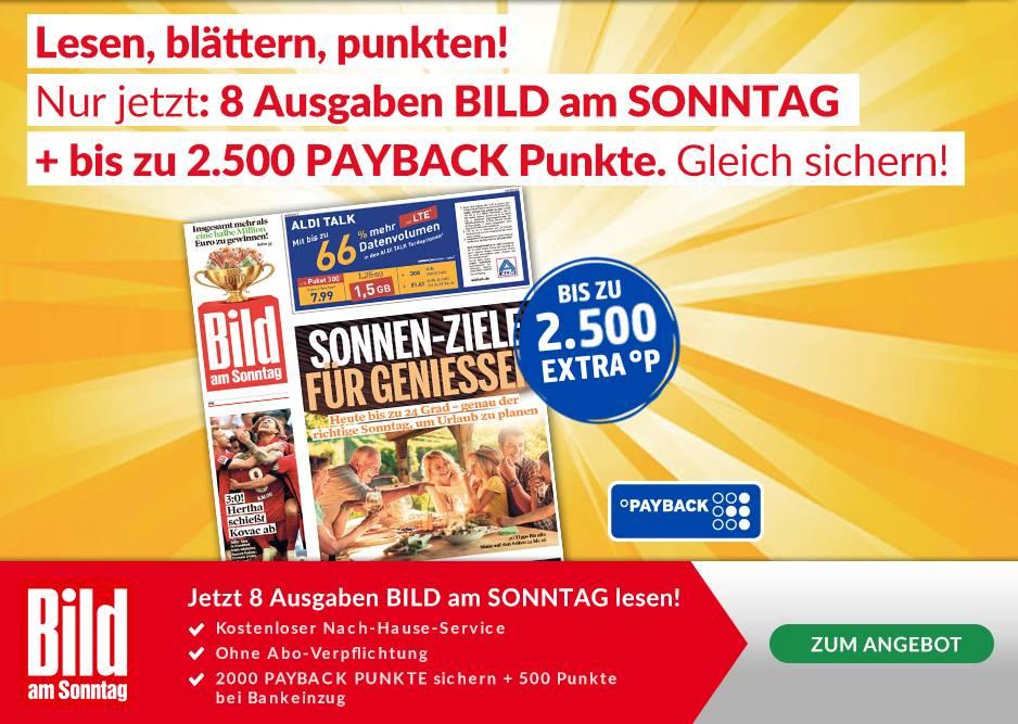 [PAYBACK + LESERSHOP24] 8 Ausgaben Bild am Sonntag für 16,80 € + 2.500 Payback Punkte (bei Bankeinzug)