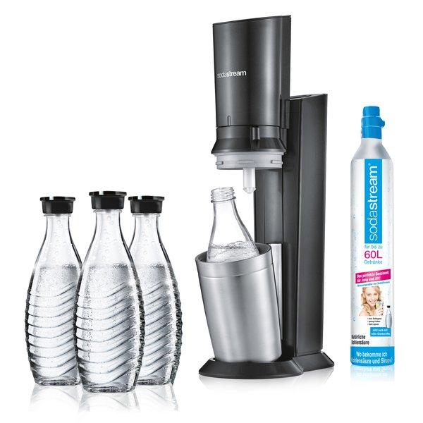 (Check24 App) SodaStream Crystal 2.0 titan mit insgesamt 3 Glaskaraffen & Zylinder