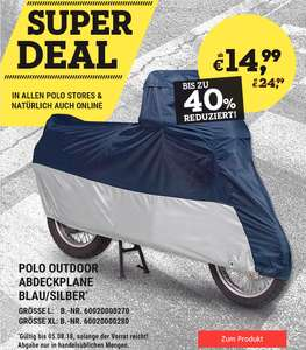 Polo Motorrad Outdoor Abdeckplane ab 14,99 Euro (Filiale, online zzgl. VSK 4,95)