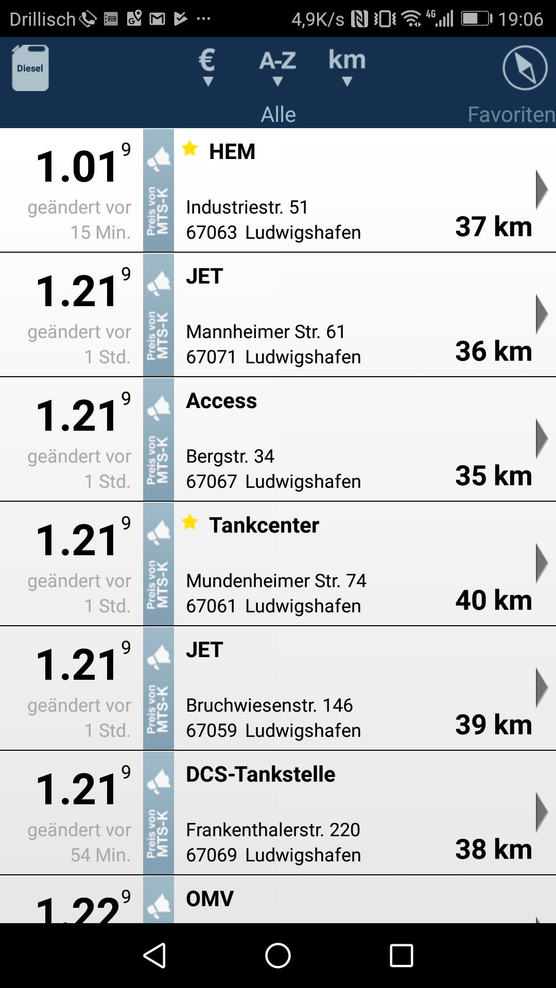 [lokal Ludwigshafen] Diesel für 1,019