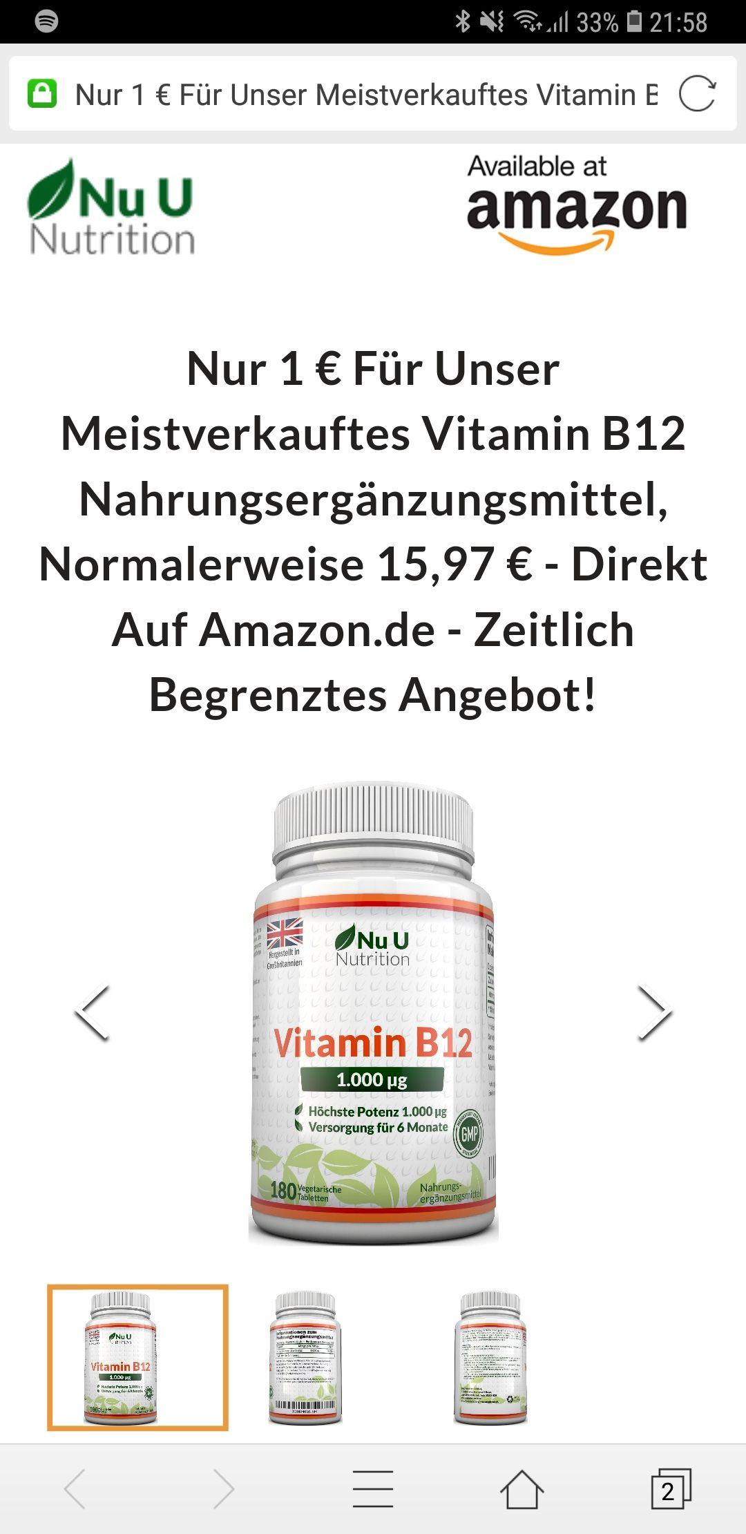 Gratis Vitamin B12 abstauben (Prime ansonsten +Vsk)