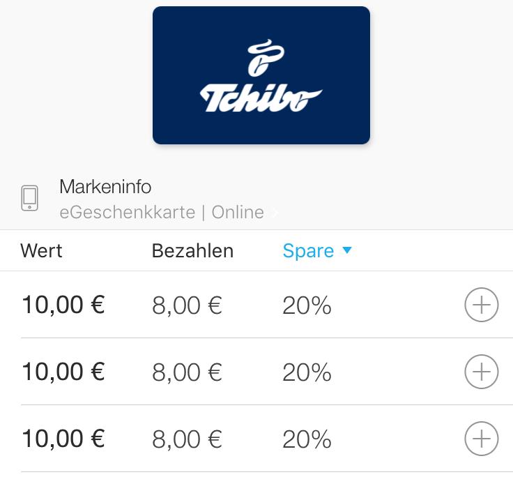 20% Rabatt auf 10 € Tchibo online Geschenkkarten bei Zeek