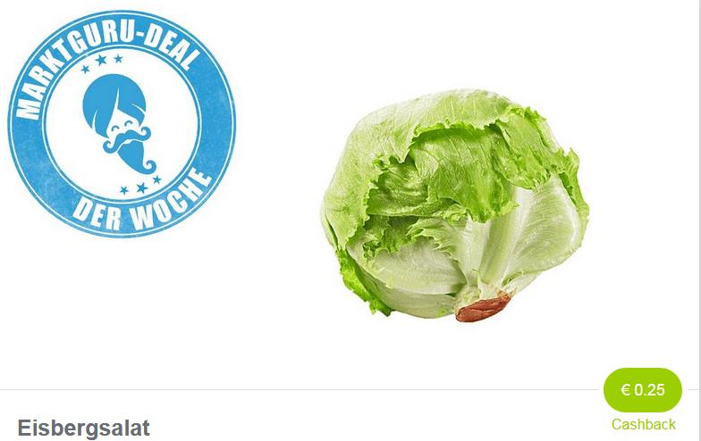 0,25€ Cashback auf Eisbergsalat per Marktguru