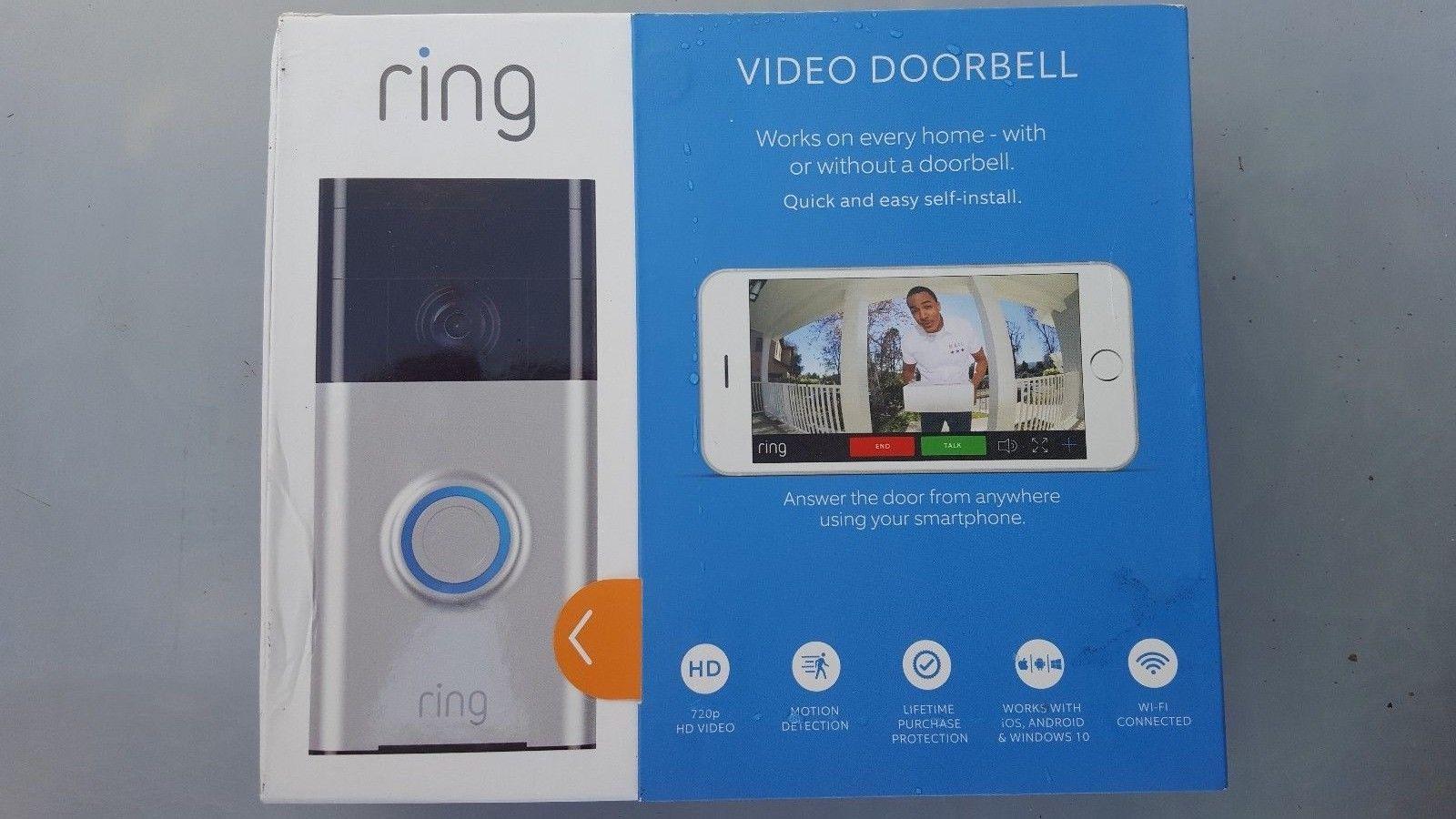 Ring Video Türklingel (WLAN, HD Video, Bewegungserkennung und Nachtsicht), satin nickel