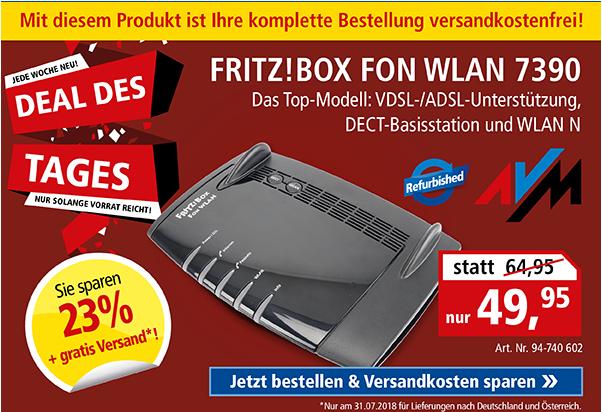 AVM FRITZ!Box Fon WLAN 7390, Refurbished, Aufbereitet, Gebraucht