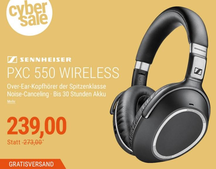 [cyberport] Sennheiser PXC 550 Wireless Over-Ear Bluetooth-Kopfhörer mit Noise-Canceling (Kabel austauschbar, dreh- und faltbare Ohrmuschel, Touch Control, aptX)