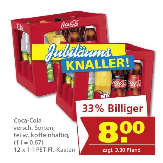 [toom Getränkemarkt] Coca-Cola 12x1L versch. Sorten 1L = 0,67€