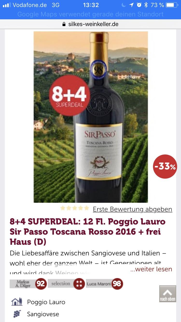 8+4 SUPERDEAL: 12 Fl. Poggio Lauro Sir Passo Toscana Rosso 2016 + frei Haus (D)