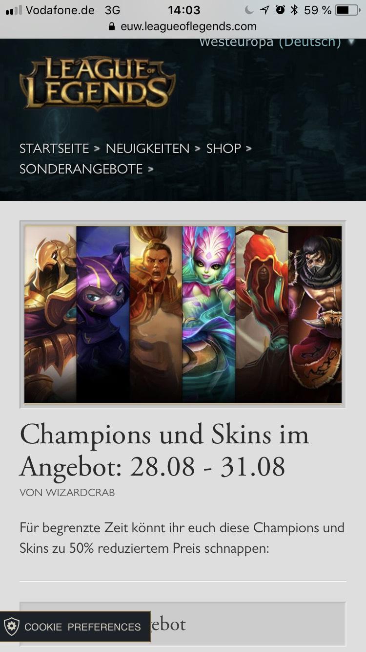 League of Legends Champions und Skins im Angebot: 28.08 - 31.08