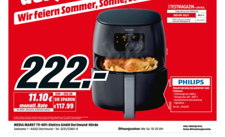 Philips HD 9652/90 Airfryer XXL [Media Markt Dortmund Hörde]