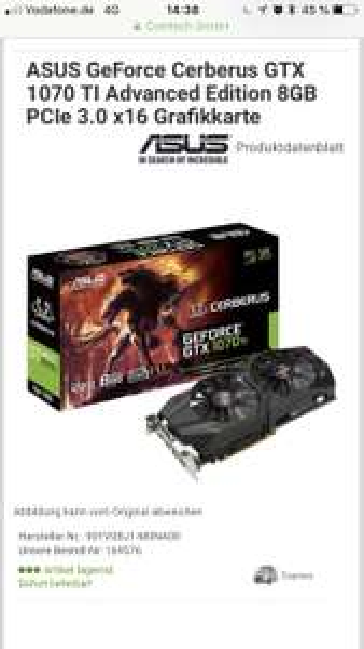 ASUS GeForce Cerberus GTX 1070 TI Advanced Edition 8GB PCIe 3.0 x16 Grafikkarte