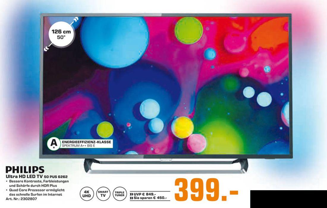 [Saturn] Philips 50PUS6262 126cm (50 Zoll) 4K UHD Smart TV Fernseher mit Ambilight EEK:A+ , EEK: A+ für 399,-€