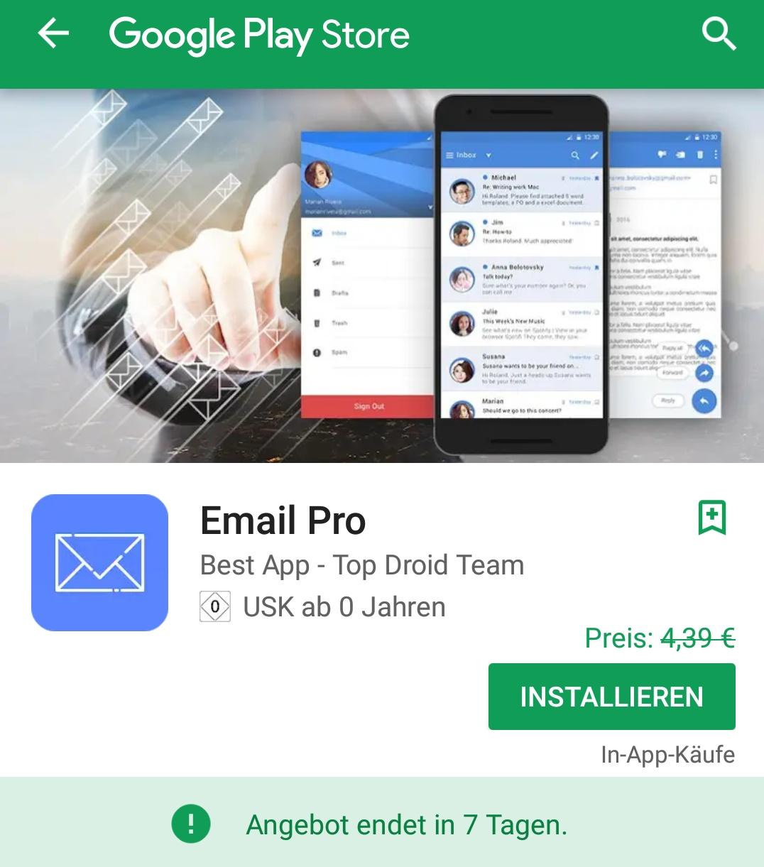 Email Pro für Android vorübergehend gratis im Google Play Store, keine Werbung! Für alle E-Mail Anbieter geeignet