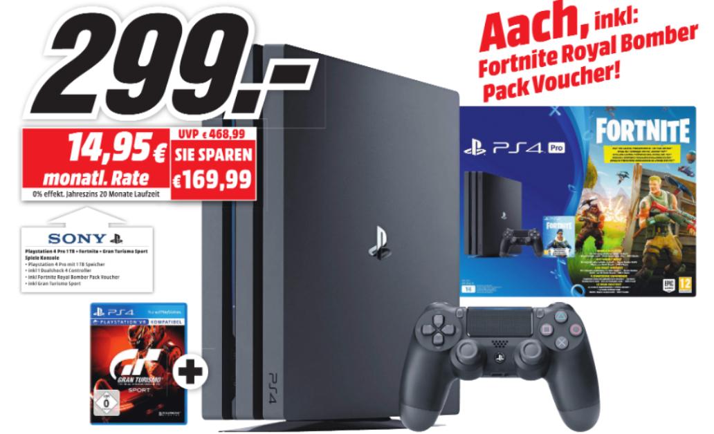 [Lokal MediaMarkt Aachen ab 02.08] Neueröffnung nach Umbau: u.a. Playstation 4 Pro + Fortnite Royal Bomber Pack + Gran Turismo Sport für 299€