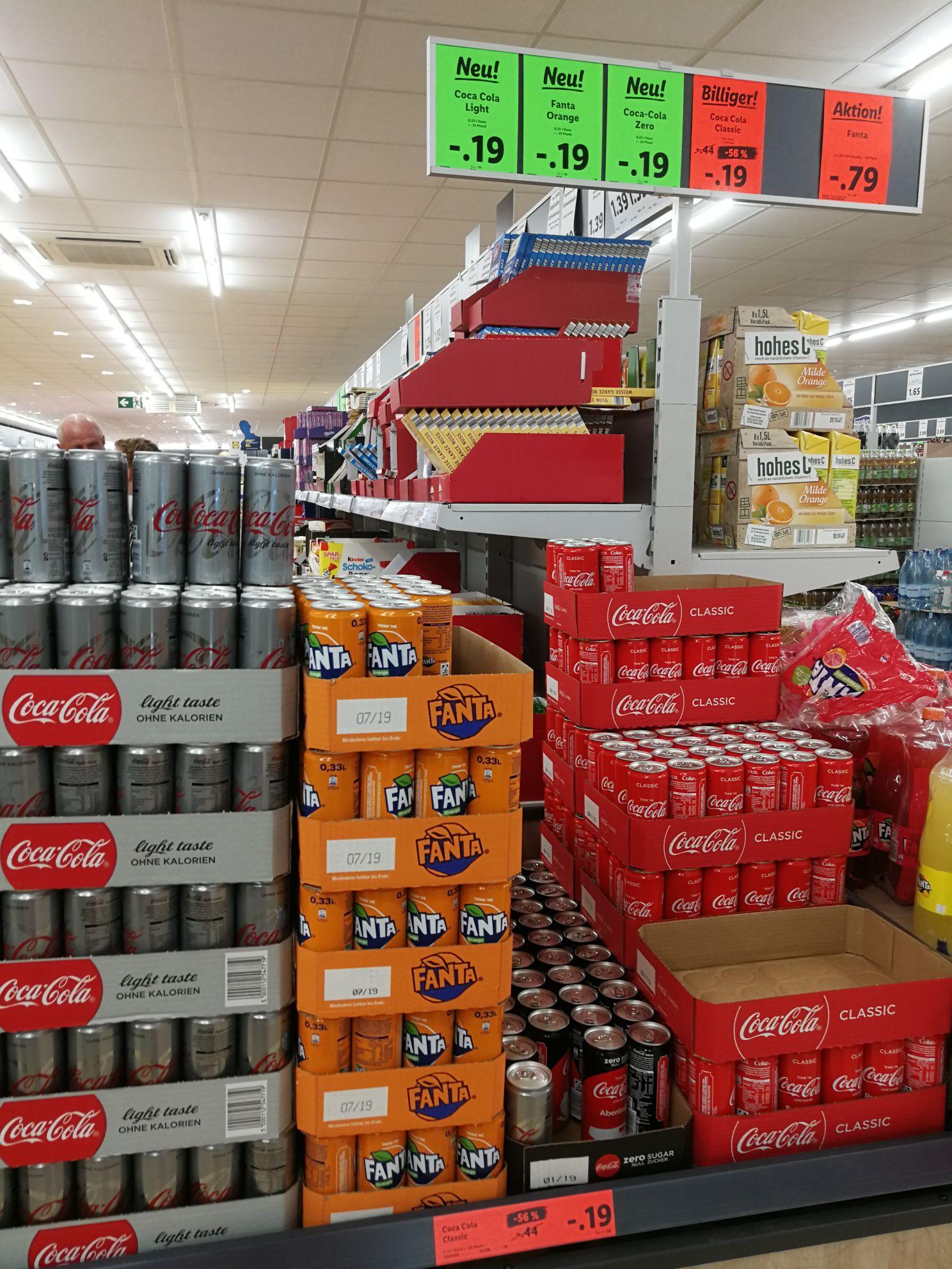 [Lokal Hennef] Coca-Cola Classic, Coca-Cola Light, Coca-Cola Zero und Fanta in 0,33er Dosen für jeweils 0,19€ bei Lidl