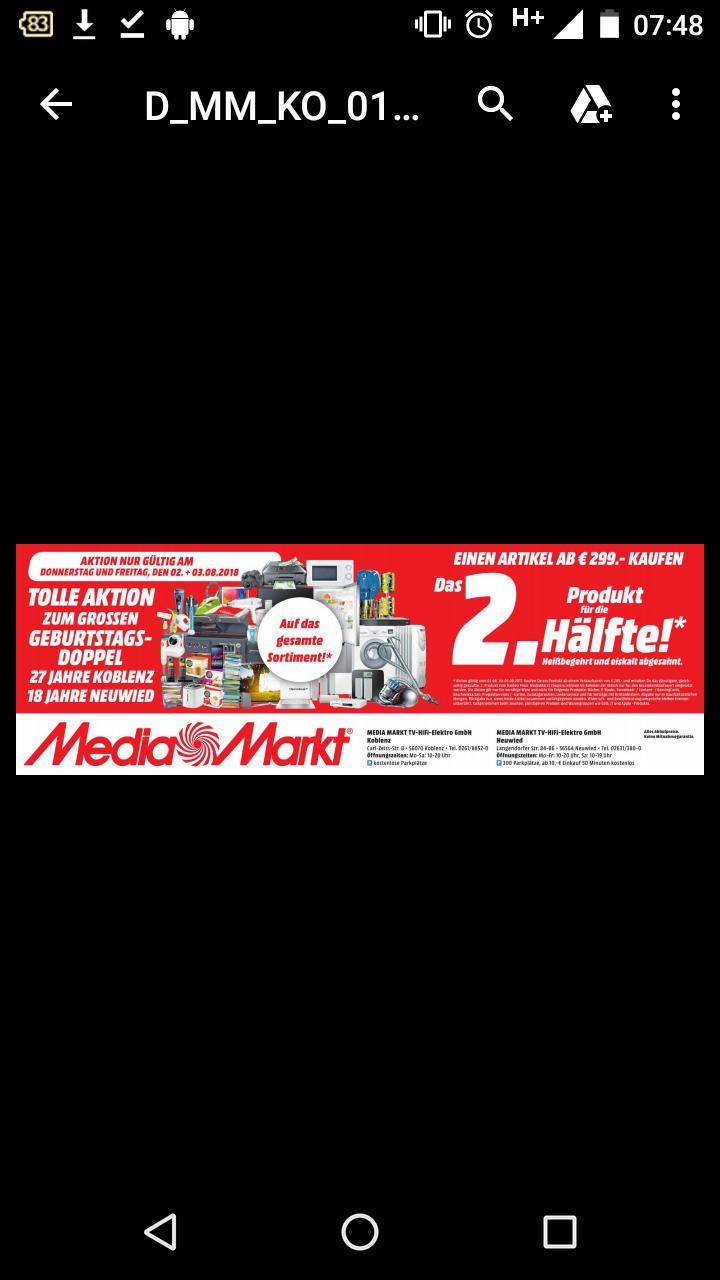 [LOKAL Koblenz und Neuwied] Media Markt einen Artikel ab 299€ kaufen und einen zweiten, günstigeren Artikel für die Hälfte bekommen