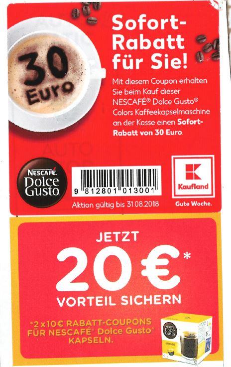 Kaufland - Dolce Gusto Colors Maschine mit 30€ Sofortrabatt und 20€ Coupons