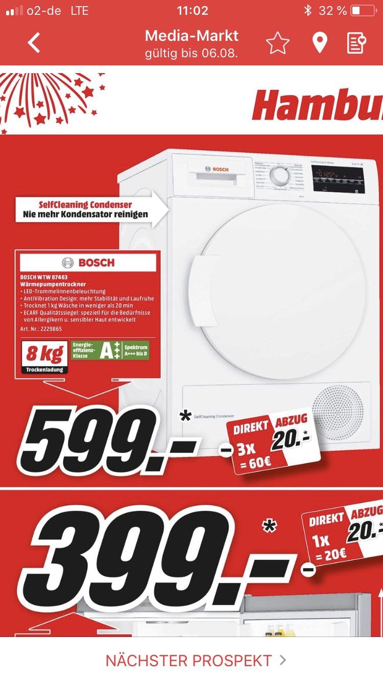 Mediamarkt: Bosch Wärmepumpentrockner WTW 87463 (A+++, 8KG) Lokal HAMBURG