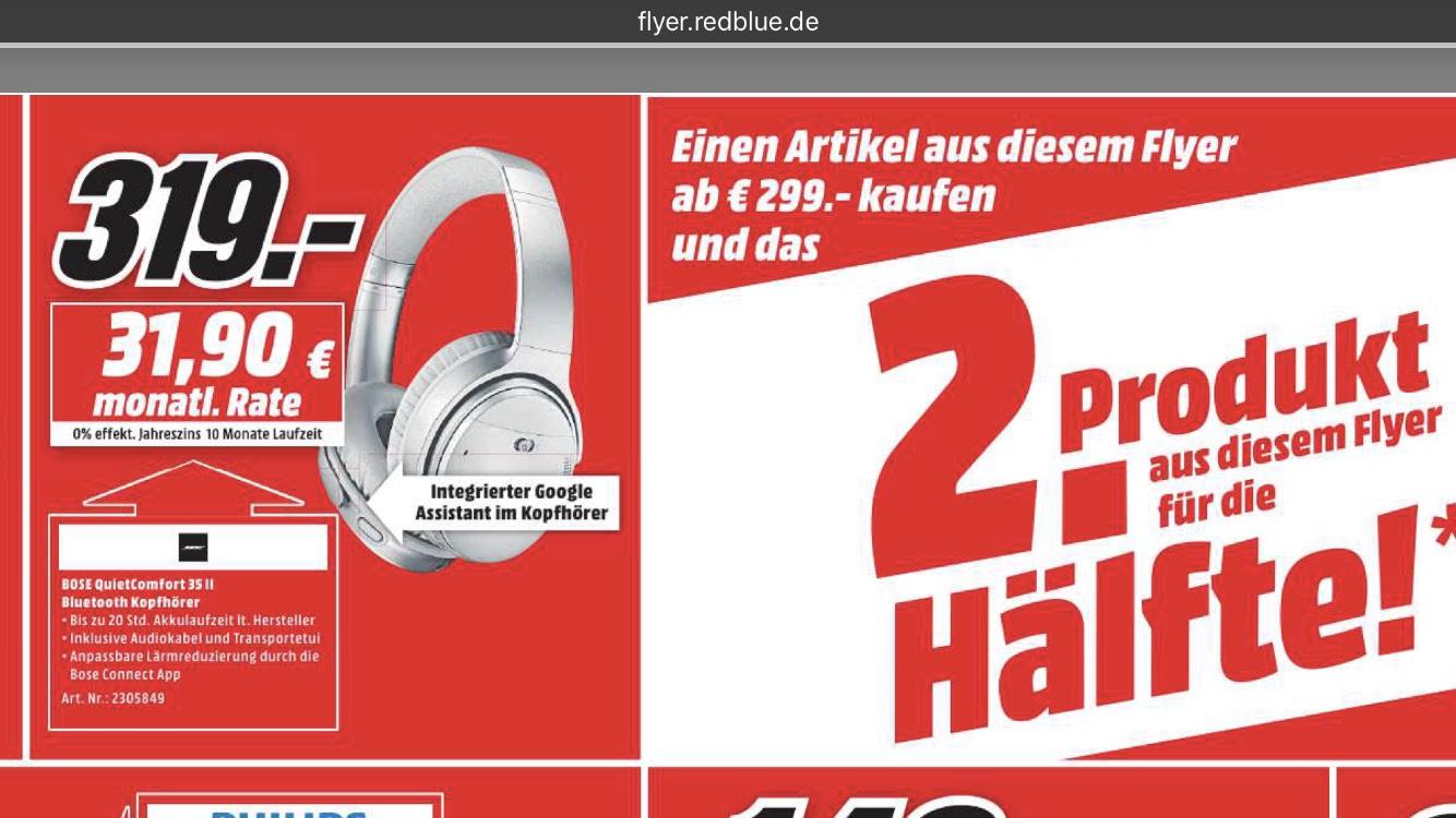 MediaMarkt 2. Produkt zum halben Preis: Bose QuietComfort 35 II [LOKAL Braunschweig]