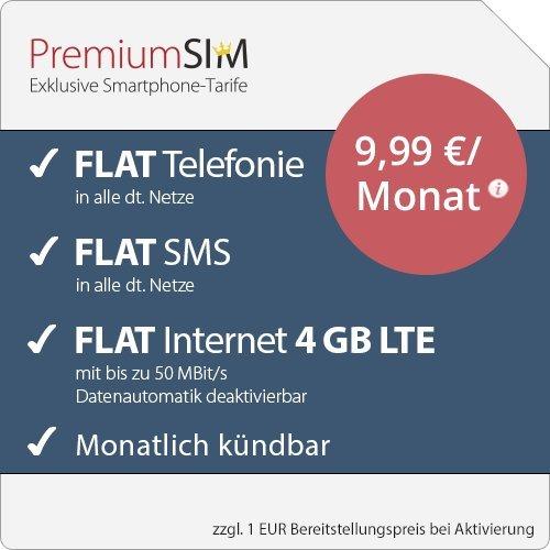 [o2 Netz] PremiumSIM LTE M Allnet Flat | FLAT Internet 4 GB LTE mit max. 50 MBit/s mit deaktivierbarer Datenautomatik | mtl. kündbaren Tarif