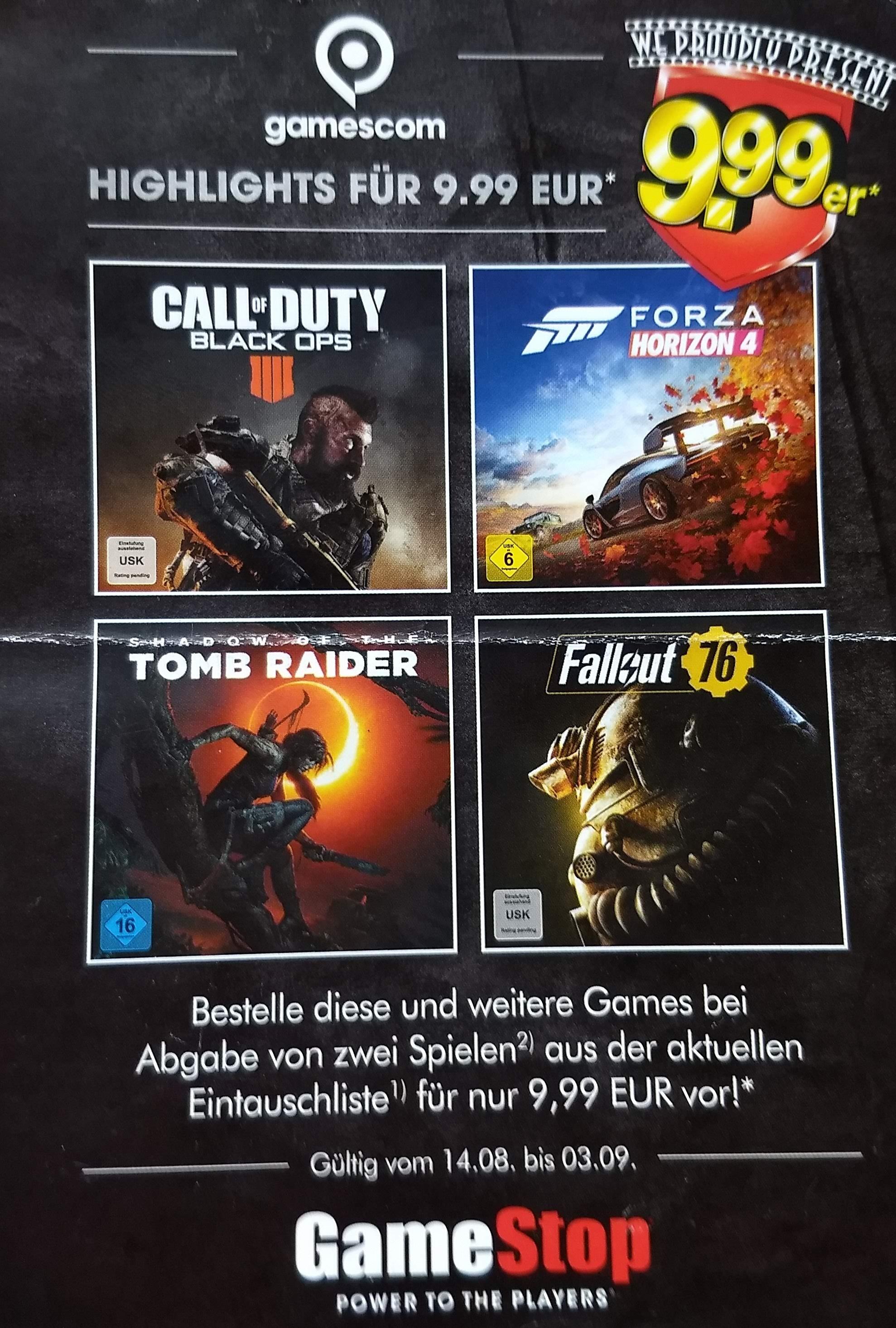 GamesCom 9.99er Gamestop Aktion 2018