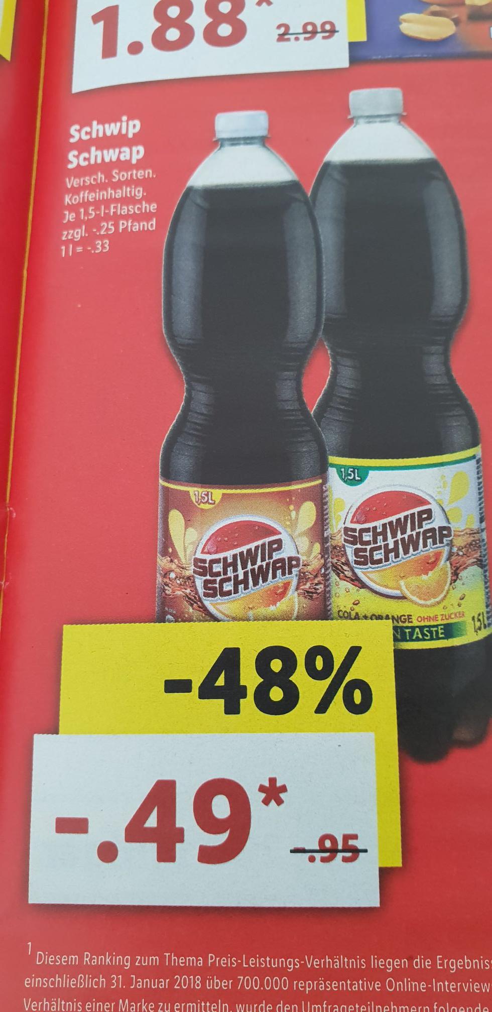 [Offline Lidl] Schwip Schwap Getränk verschiedene sorten 1.5 Liter zzgl. 25 Cent Pfand.