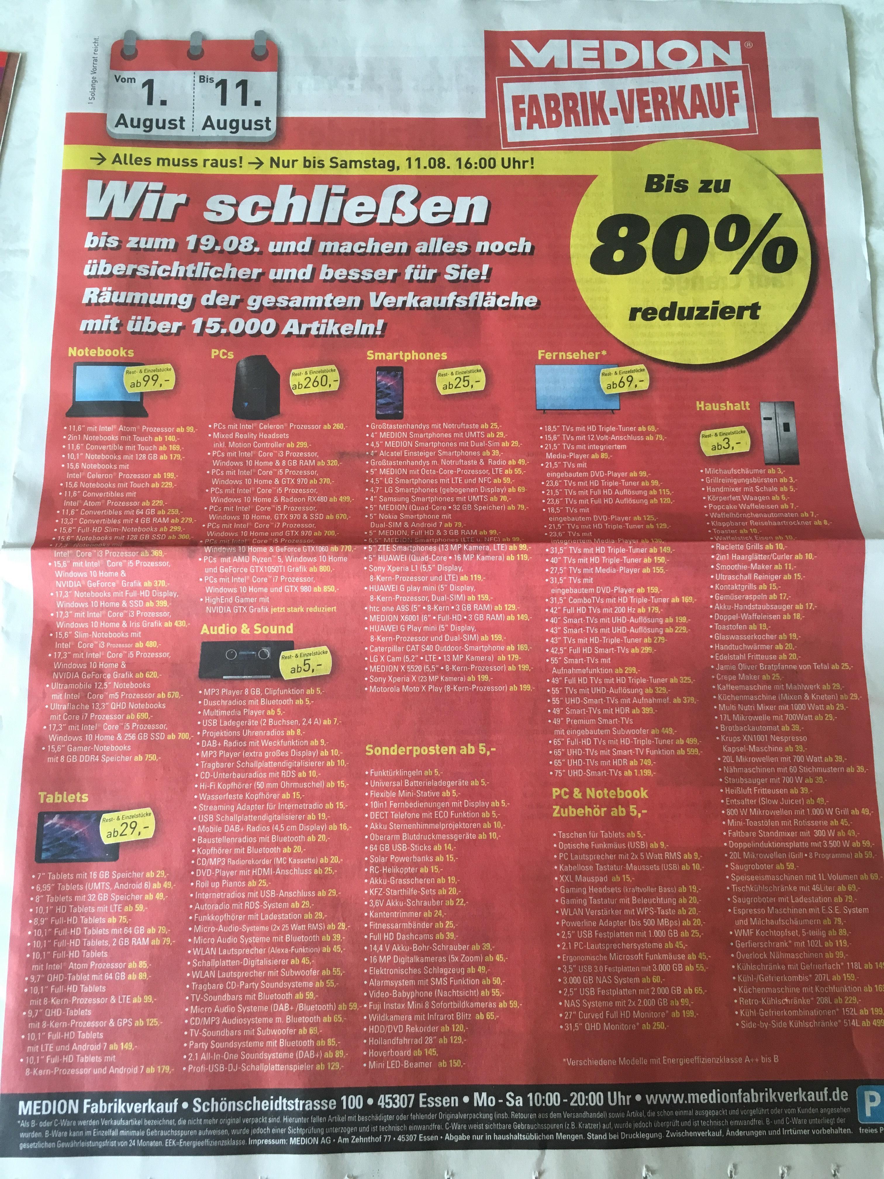 Medion Fabrikverkauf in Essen (Lokal) 80% möglich