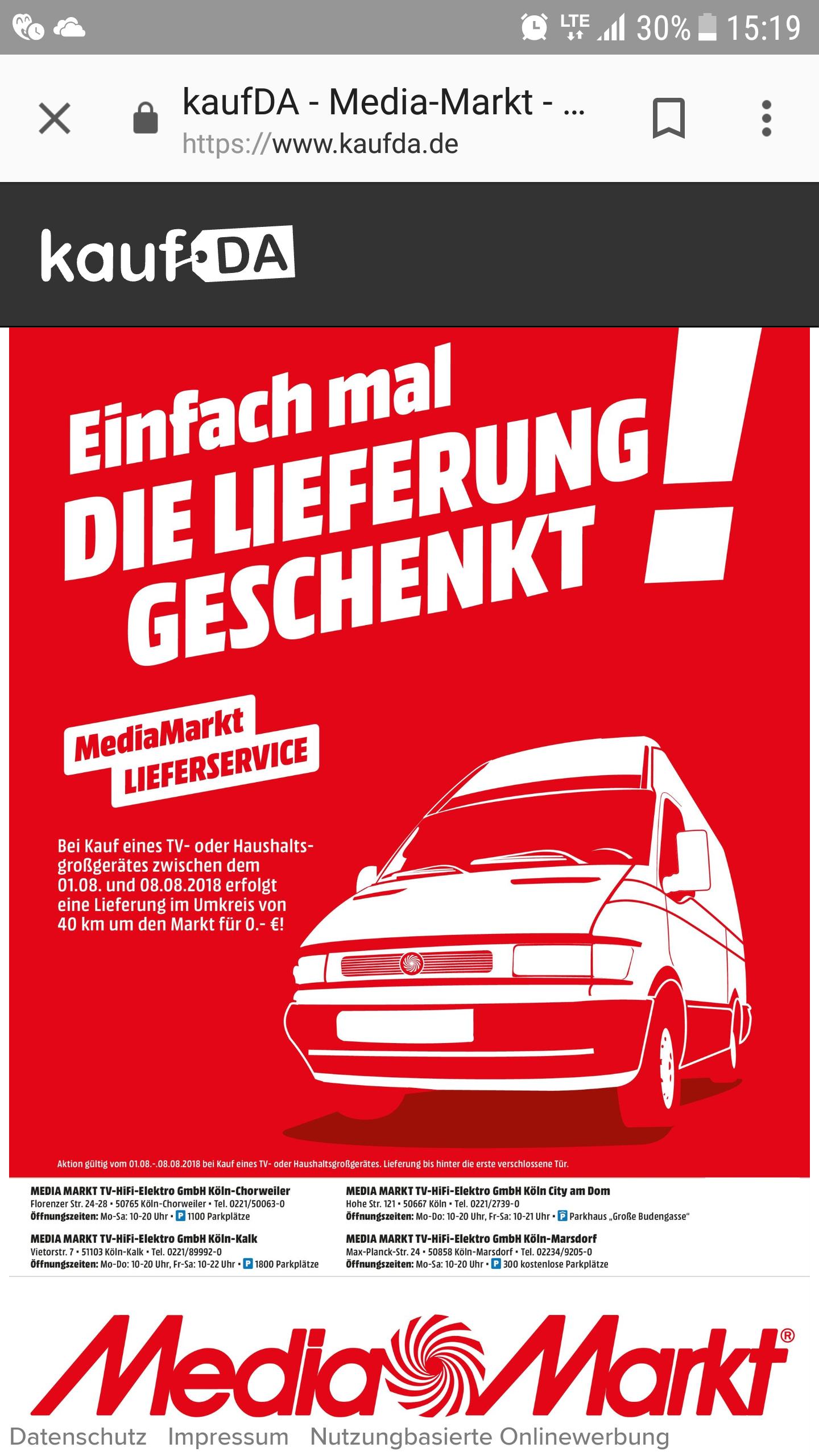 [lokal] MediaMarkt Köln Lieferkosten geschenkt (hinter die erste verschließbare Tür)