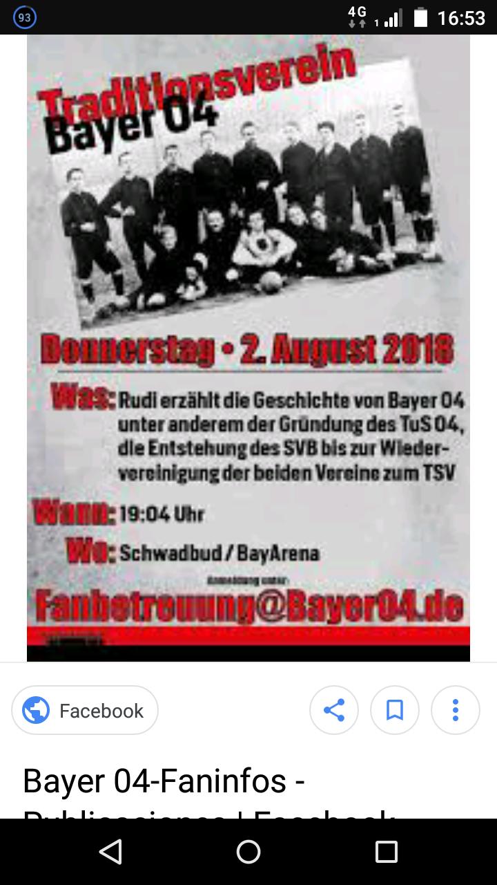 Leverkusen : Bayer 04 Zeitreise Doku am 2.8 um 19:04 Uhr Eintritt frei