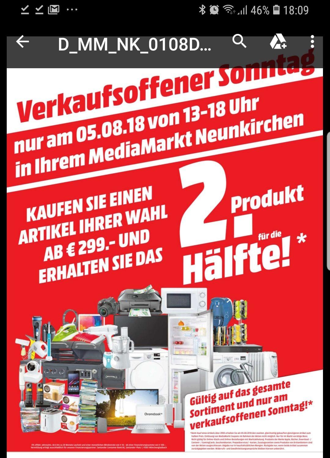 [Lokal Media-Markt Neunkirchen 66538] 50% auf 2. günstigeres gekauftes Produkt (ab 299 Euro) *Verkaufsoffener Sonntag*