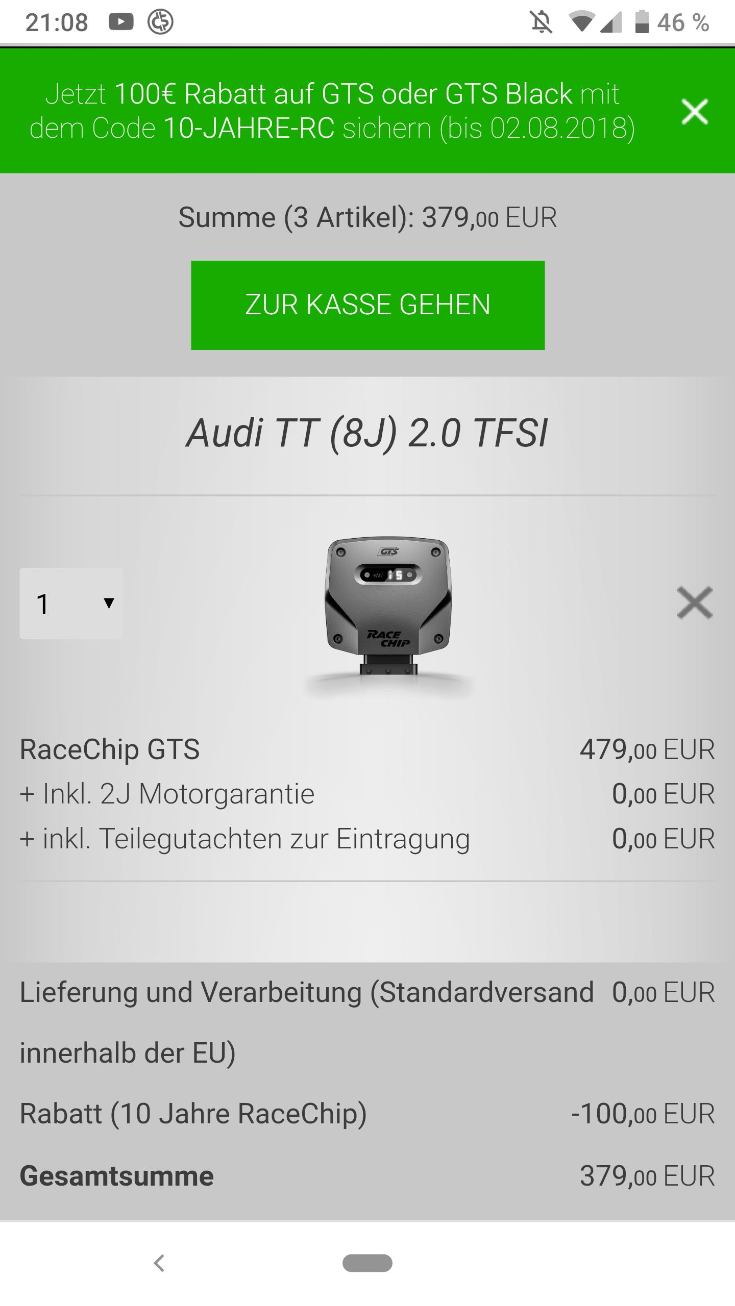 100€ Rabatt bei Racechip (GTS und GTS Black)
