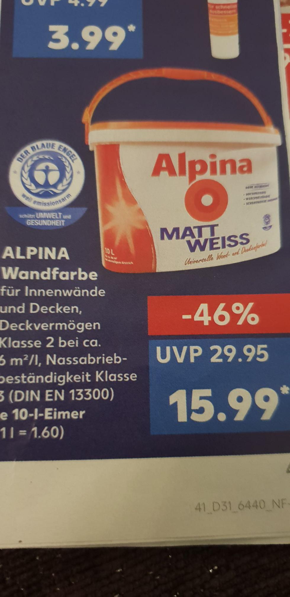 [Kaufland Offline] Alpina Matt Weiss Wandafarbe 10 Liter für 15.99