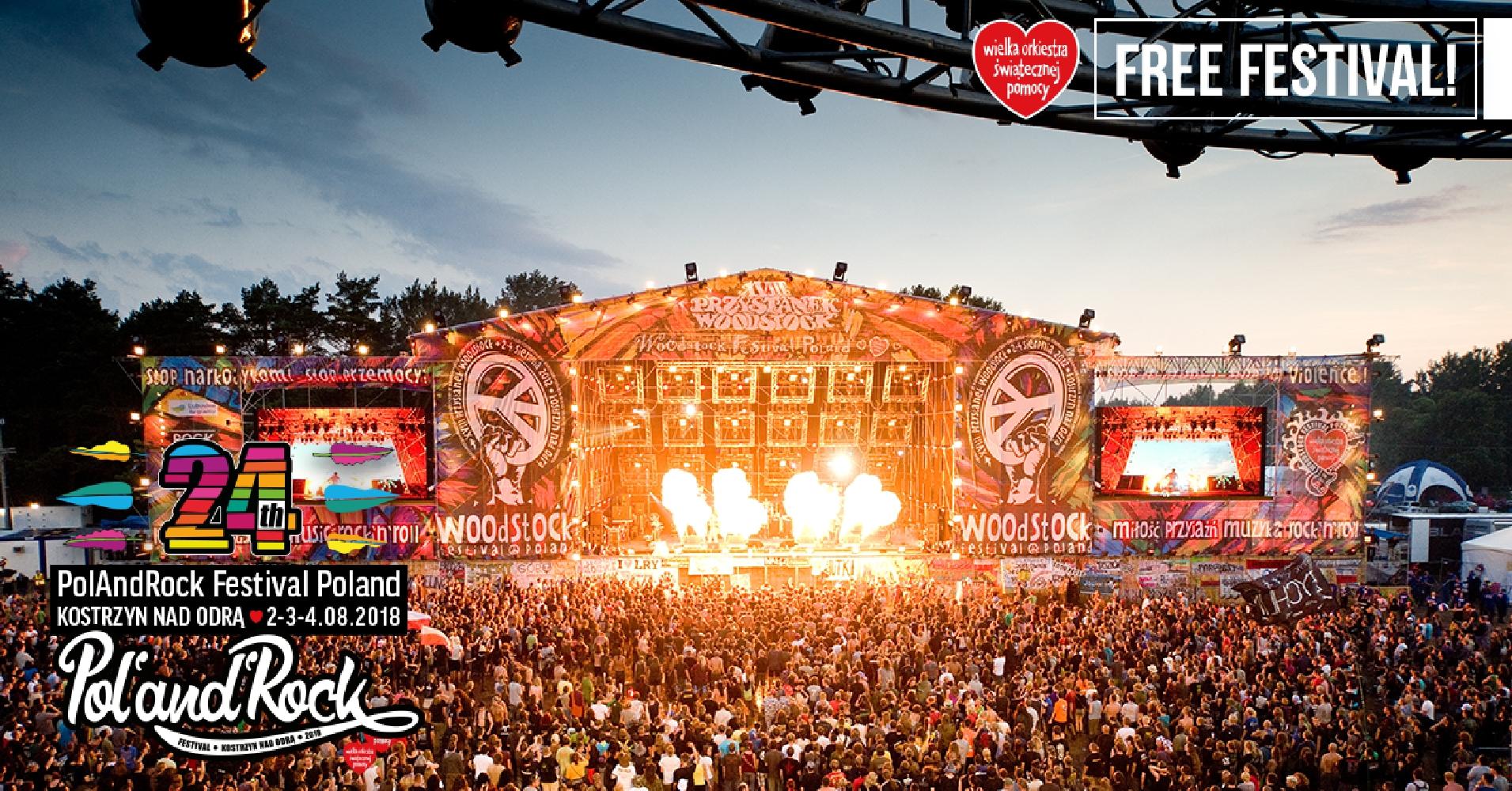 Gratis PolAndRock Festival 2018, das neue Woodstock Festival in Kostrzyn PL
