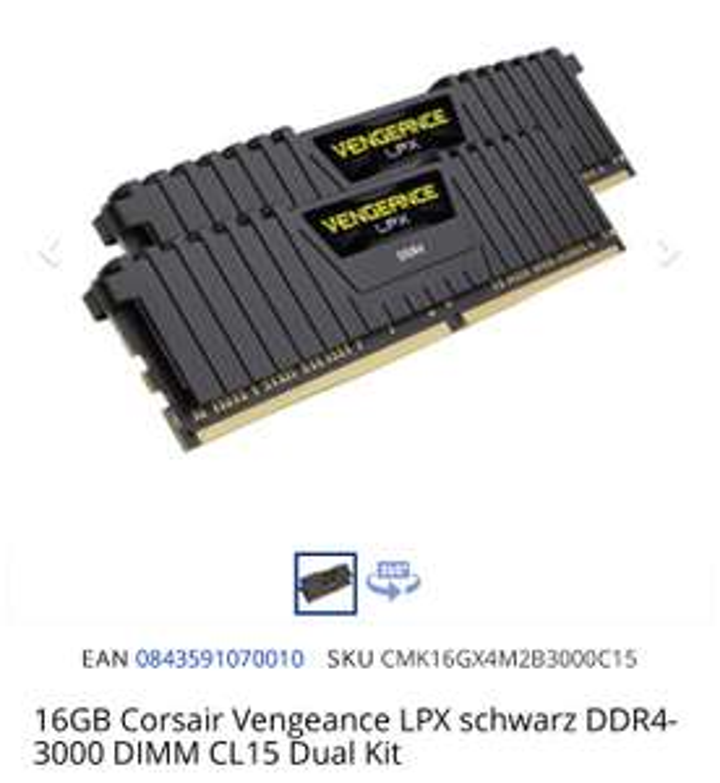 CORSAIR 16GB LPX DDR4 3000MHZ CL15 DUAL-KIT BEI MINDFACTORY IM MINDSTAR