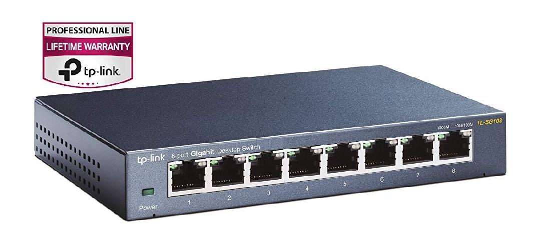 TP-Link TL-SG108 V3 8-Port Gigabit Netzwerk Switch, Blau Metallic [Blitzangebot bis 10.30 Uhr]