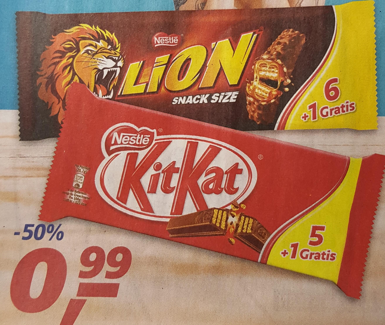 [real] KitKat, KitKat Chunky White 5er +1 / Lion oder Lion White 6er +1 (Multipack + 1 Riegel gratis)