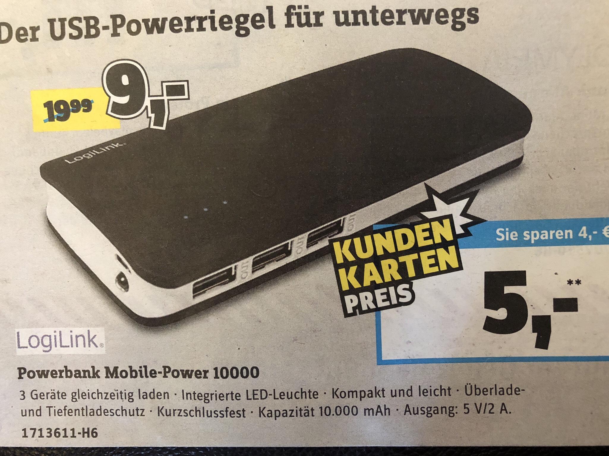 Powerbank 10000 mAh für 5€ [Conrad Filiale]