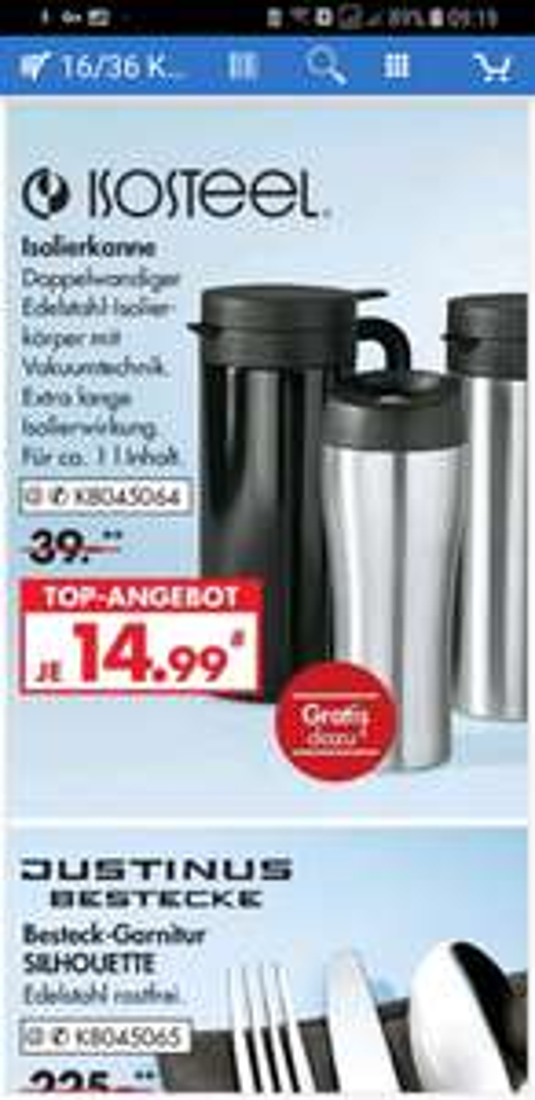 [Karstadt] Isolierkanne Isosteel+Caffe-to-go Becher 0,4liter gratis dazu